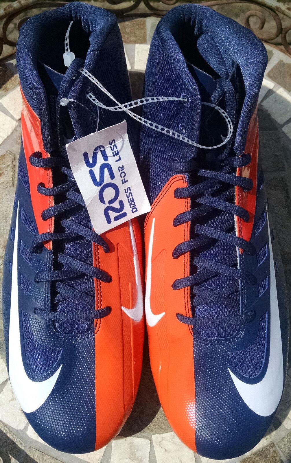 Nike Vapor Pro Mid bluee orange & bluee White Men's Football Cleats size 14.5 US