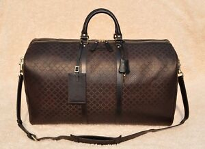 8a20a8f8715 Image is loading Gucci-Diamante-Leather-Carry-On-Duffel-Bag-Brown-