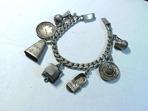 Vintage Sterling Silver Mexico Theme Charm Bracele