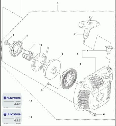 Husqvarna Recoil Starter Assy 544287002 435E 435 E chainsaw w// Decal