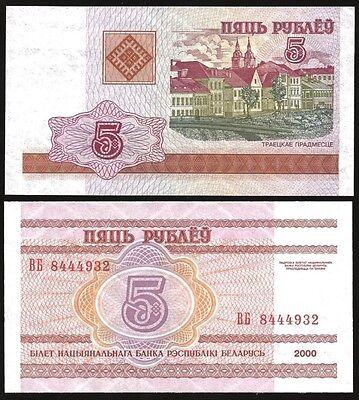 Belarus 5 RUBLEI 2000 P 22 UNC