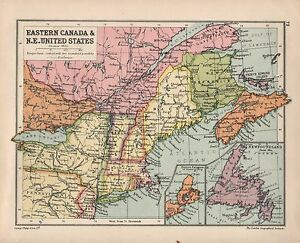 Details about 1934 MAP ~ EASTERN CANADA & NORTH EAST UNITED STATES  NEWFOUNDLAND MAINE NEW YORK