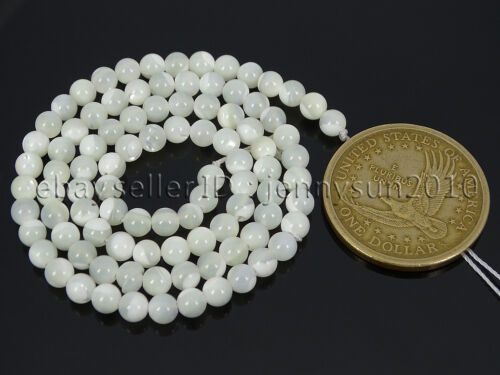 Natural White Mother Of Pearl MOP Shell Round Beads 15.5/'/' 2mm 3mm 4mm 6mm 8mm