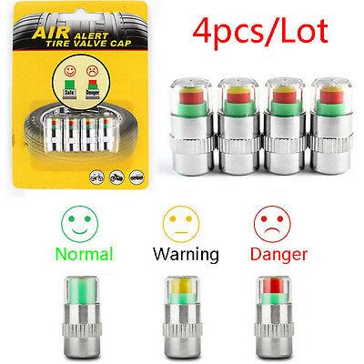 4 Auto Car Tire Type Air Pressure Alert Indicator Valve Stem Monitor Sensor Cap