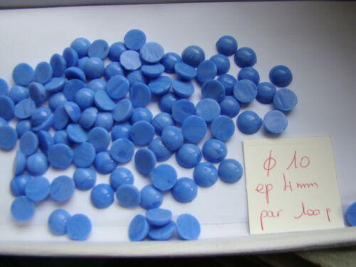 LOT de 100 CABOCHONS en VERRE bleu rond diam 10mm perles création bijoux