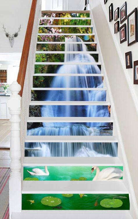 3D Weiß Schwan 533 Stair Risers Dekoration Fototapete Vinyl Aufkleber Tapete DE