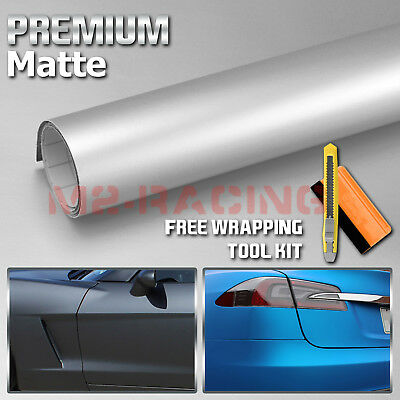 "Matte Flat Silver Gray 12/"" x 60/"" Vinyl Auto Vehicle Car Wrap Sticker Decal Film"