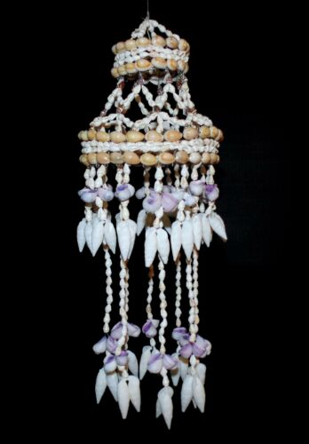 "15"" PURPLE CEBU & WHITE VERTAGUS SEA SHELL WIND CHIME CHANDELIER DECOR BEACH"