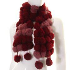 Burgundy Pink Rabbit Fur Pom Pom Scarf