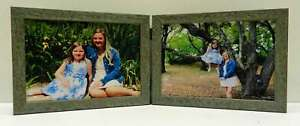 8x10-Green-Teal-Rustic-Double-Hinged-Horizontal-Wood-Photo-Picture-Frame-New