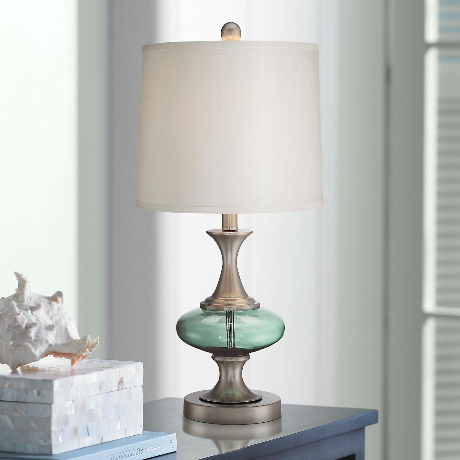 Modern Table Lamp Brushed Steel Blue Green Glass For Living Room Bedroom For Sale Online