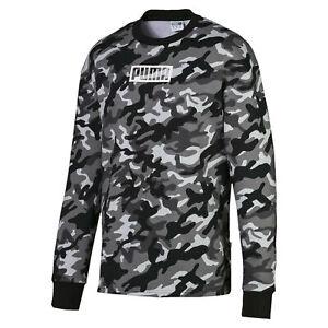 PUMA-Rebel-Camo-Men-039-s-Fleece-Crewneck-Sweatshirt-Men-Sweat-Basics