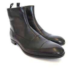 L-3476220 New Emporio Armani Black Leather Ankle Boot Shoes Size US-10 Marked-9