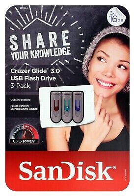 NEW LOT 3x SanDisk Cruzer U Clip 32GB USB Flash Drive Thumb Pen Memory Stick 32G