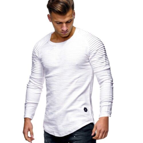 Men/'s Slim Fit O Neck Long Sleeve Muscle Tee Shirts Casual T-shirt Tops Blouse 7