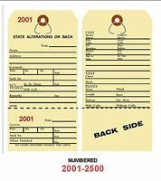 Alteration Tags 6-1/4 X 3-1/8 2-sided Manila With Button Slot Numbered2001-2500
