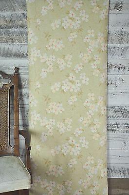 York Wallcoverings Dogwood Floral Tan Cream Green Pink Flowers Crackle Wallpaper