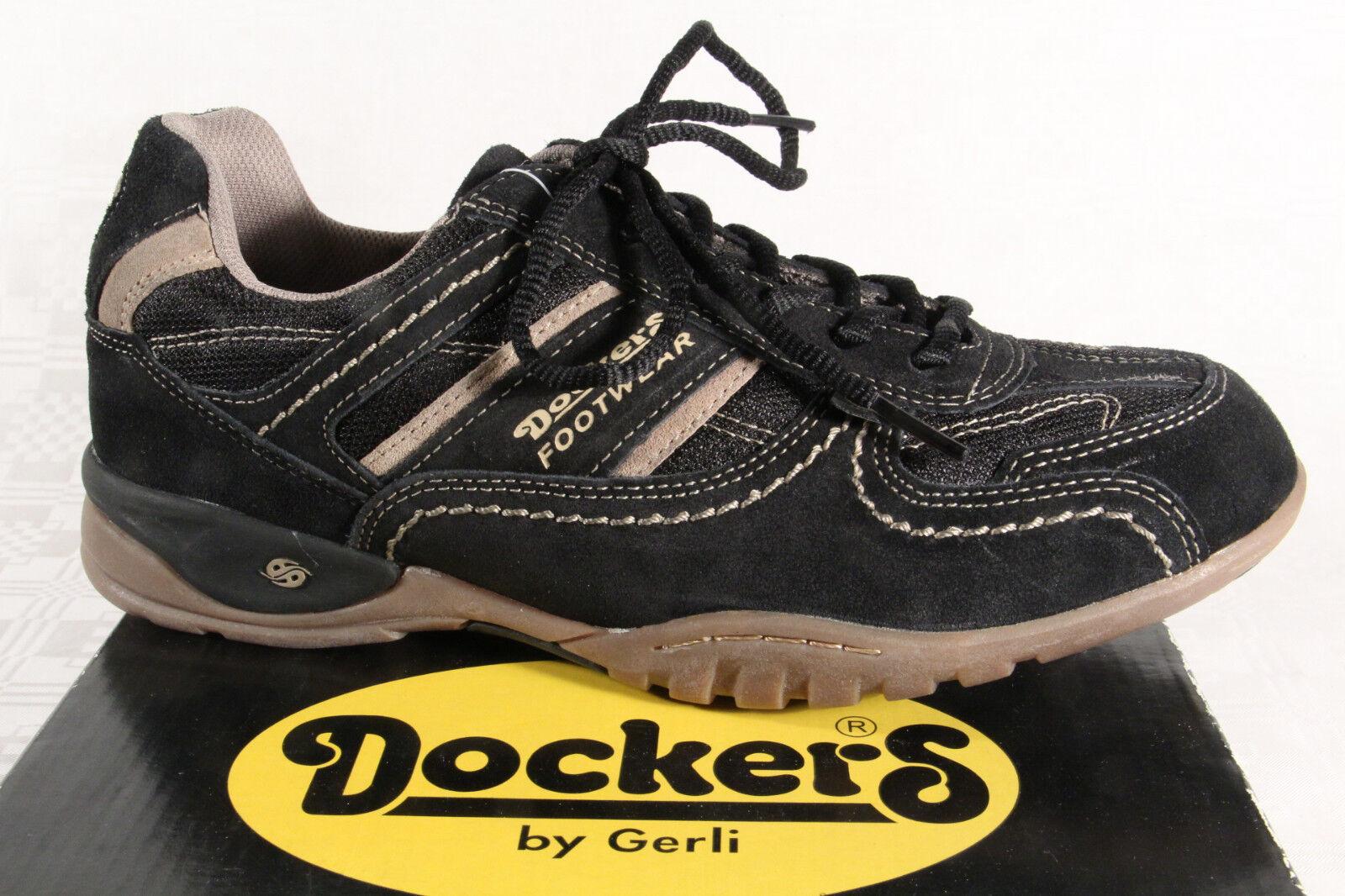 Dockers señores schnürschuhe zapatilla cuero genuino negro, nuevo!