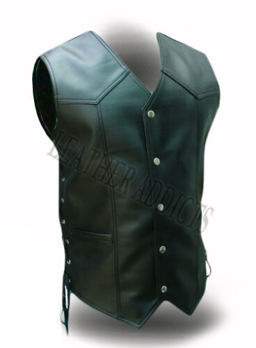 Leather All Real Vest Biker Black Style Mens Cow Motorcycle Waistcoat YwqXStFxxp