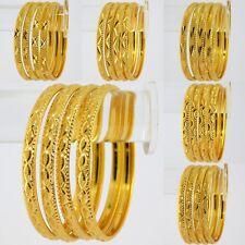 Indian Gold Plated Bracelet Kada 4 pcs Women Bangle Set Fashion Jewelry 2*6,2.8