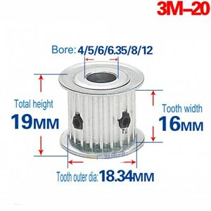 3M20T-Timing-Belt-Pulley-Gear-Synchronous-Wheel-Bore-4-12mm-For-15mm-Width-Belt