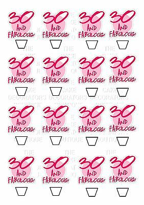 30th Female Birthday Wafer CARD Standing Edible Cupcake Fairy Cake Topper x 16