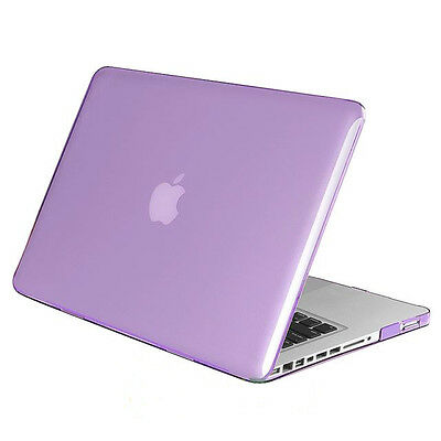 "Hard Protective Purple Case  13"" 13.3"" Apple Macbook Pro Cover Crystal Plastic"