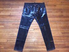 DSQUARED² SUPER RARE BLUE DENIM & SHINY BLACK COATED PLEATHER FRONT JEANS 50 34
