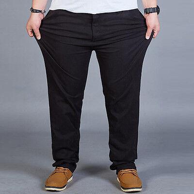 Fashionable Mens Dress flat front Trousers Casual Straight Leg pants Plus size