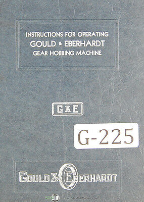 Gould /& Eberhardt Change Gear Tables Auto Gear Hobbing Manual
