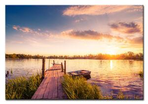 LEINWAND KUNSTDRUCK BILDER WANDBILD Sonnenuntergang Bild Landschaft See Steg 739