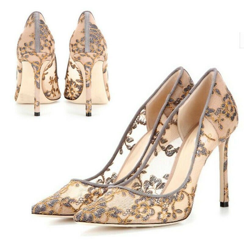 Womens Sexy Party Super High Heels Lace Lace Lace Mesh Flower Embroidery Dating Pump shoes feea0d