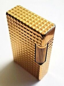 Vintage-ST-Dupont-de-Paris-Diamond-Head-Lighter-Gold-Plate