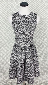 Womens-Taylor-Black-amp-White-Leopard-Print-Fit-Flare-Tea-Dress-Sundress-Size-4-S