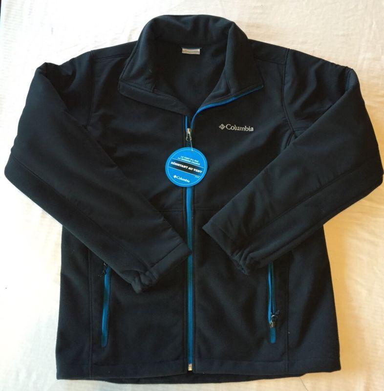 NWT NUEVO, chaqueta Columbia Windproof para hombre, negro, con detalles en azul, resistente al agua.