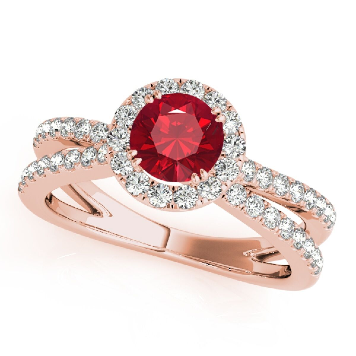 1.40 Carat Halo Ruby-Diamond Engagement Ring In 14k Solid gold