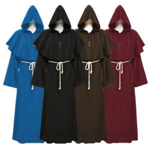 Friar Medieval Cowl Hooded Priest Monk Renaissance Robe Halloween Party Costumes