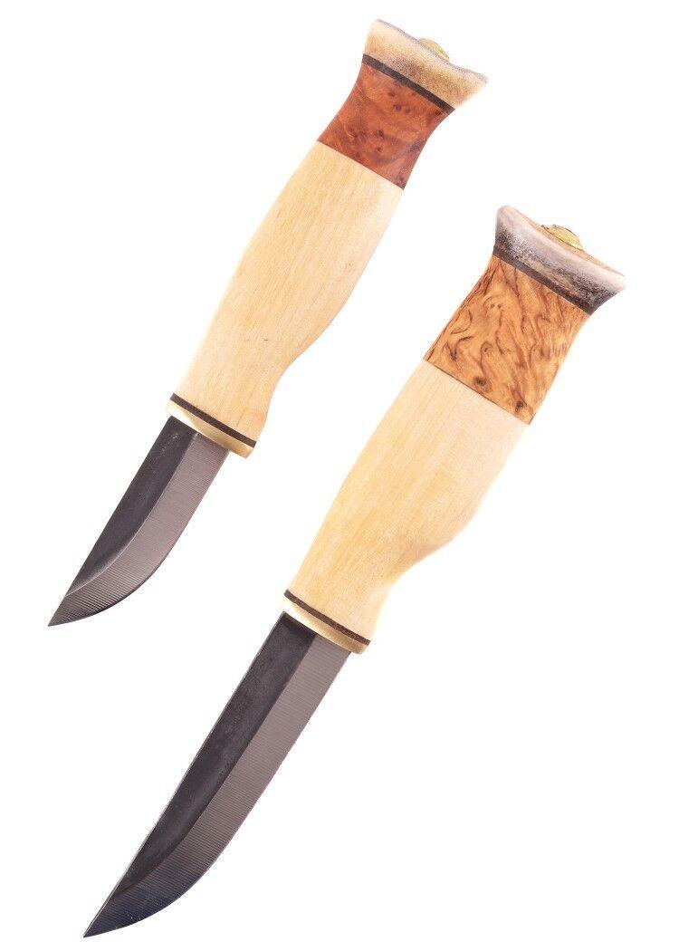 Wood-Jewel Doppelmesser Kaksoispuukko sarvihatulla 20,5cm Messer-Set Jagdmesser