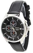 Seiko Chronograph SKS547 Black Dial Black Leather Band Men's Watch