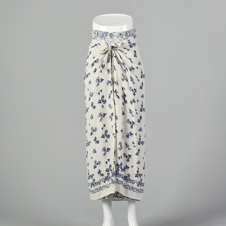 XS 1990s Blue White Maxi Skirt Bohemian Long Laye… - image 1