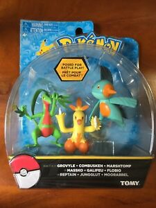Pok/émon 3 Pack 3 inch Figure Set Marshtomp and Grovyle Tomy Combusken