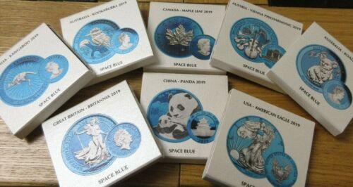 2019  .999 Silver Coin Space Blue Edition PANDA BRITANNIA EAGLE KOALA KANGAROO