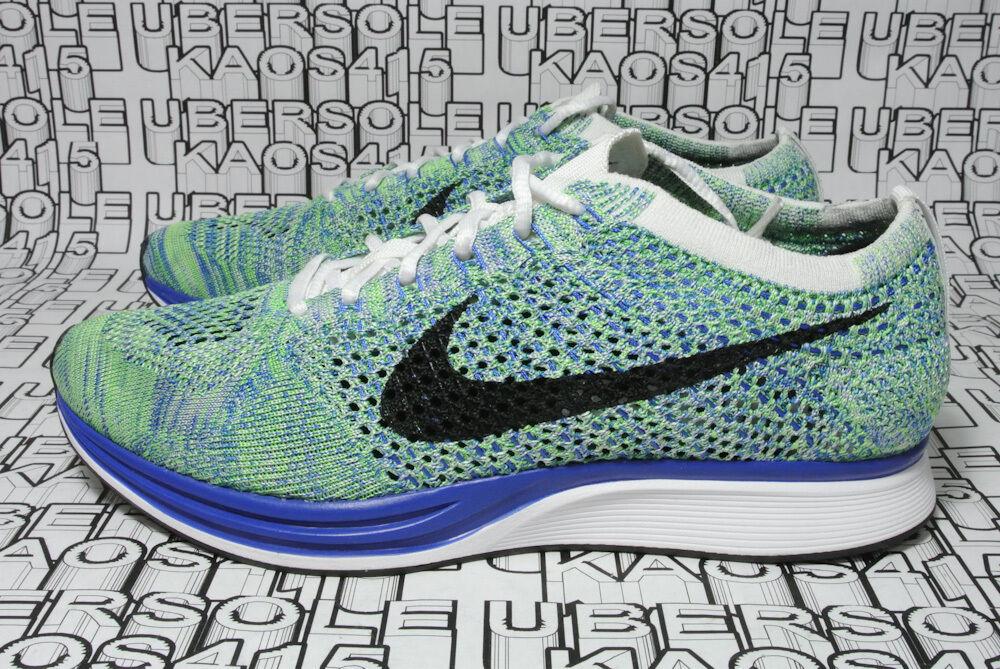 Nike flyknit racer verde / blu / bianco 526628 104 - 8 / uomini / donne oreo