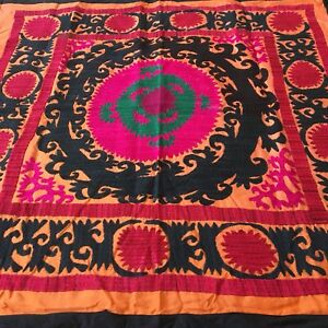 Image Is Loading MEDIUM HAND EMBROIDERED UZBEK VINTAGE WALL DECOR TABLECLOTH