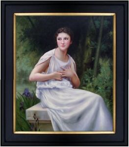 Framed-Hand-Painted-Oil-Painting-Repro-Bouguereau-Reflection-1897-20x24in