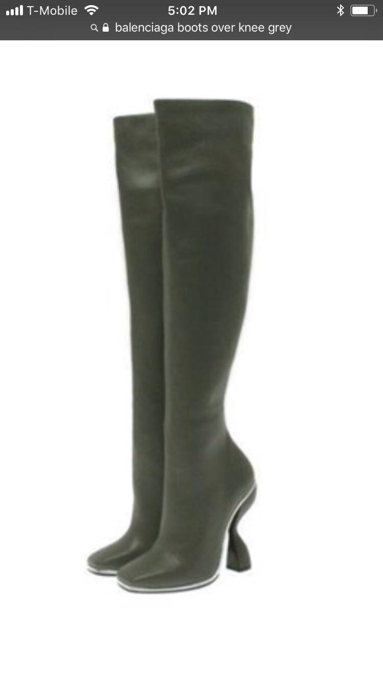 "Balenciaga Womens ""Blade""  Boots  Over The Knee Grey Size 37 NEW Reg.1575"