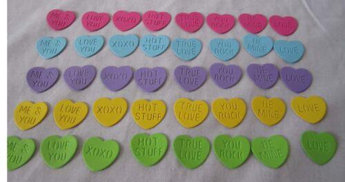 Lot 40 Pieces CONVERSATION HEARTS Paper Pieces Confetti Acid Lignin Free U Pick
