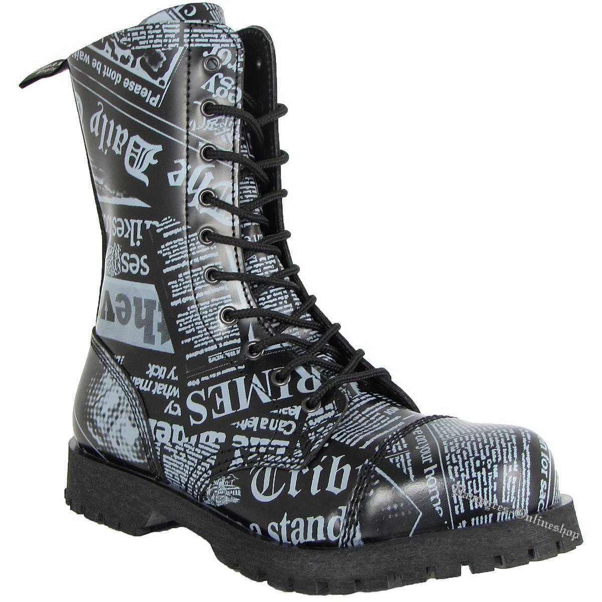 Boots And Braces 10-Loch Newspaper Schwarz Grau Rangers Motiv Zeitung Stiefel
