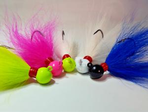 5 Striper Fluke Bass Walleye Round Ball Bucktail Jig Head Teaser Lure Combo
