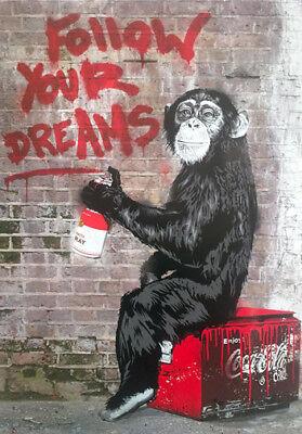Digital Canvas Print Follow Your Dream Chimpanzee Graffiti Street Art Unframed